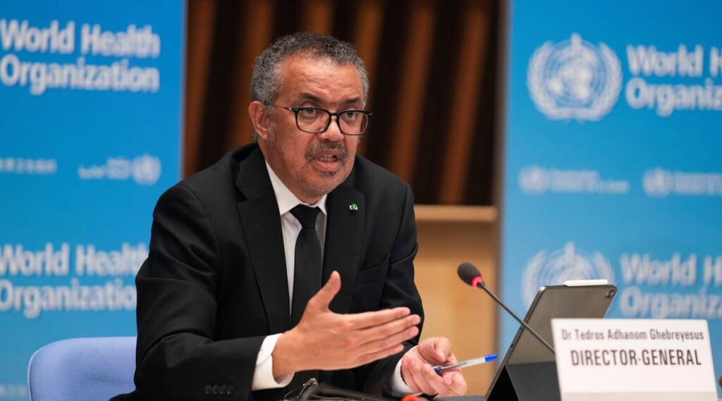 Tedros Adhanom Ghebreyesus, Director General WHO attends a news conference on the outbreak of coronavirus after the return of the team of the WHO-convened global study of the origins of SARS-CoV-2 in Geneva, Switzerland, February 12, 2021.